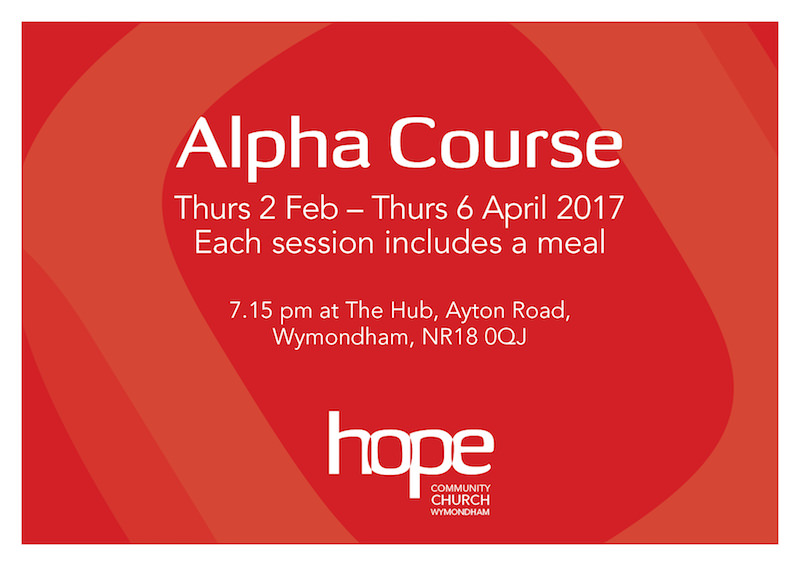 Alpha Course - Starting Thurs 2 Feb 7.15pm