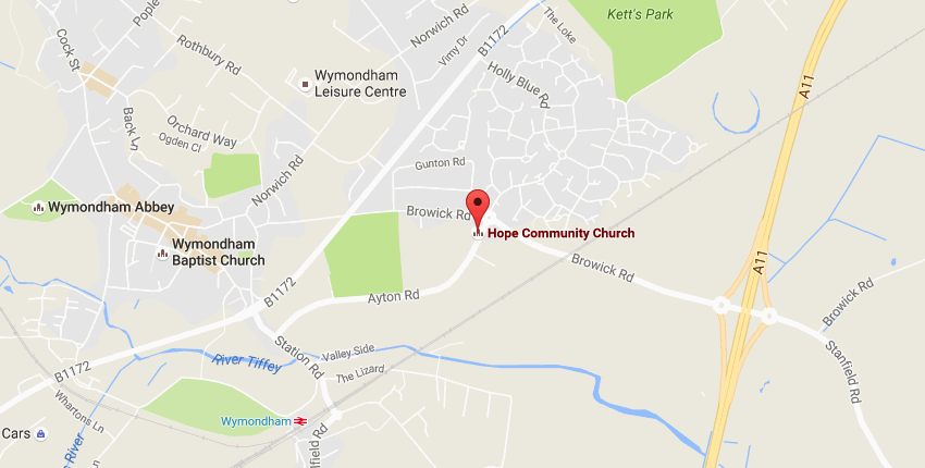 Map showing Hope Community Church Wymondham