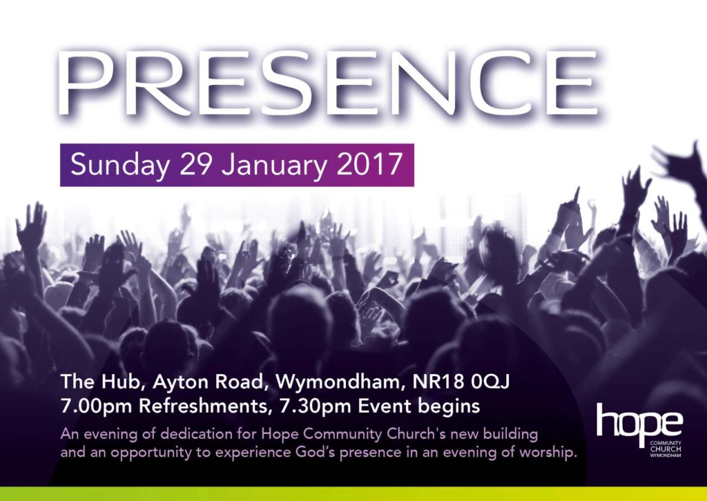 Presence - Sunday 29th Jan 2017 - 7.30pm at The Hub