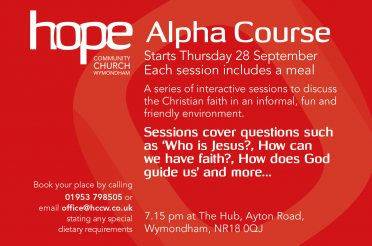 The Alpha Course – Starts Thursday 28 September, 7.15pm, The Hub