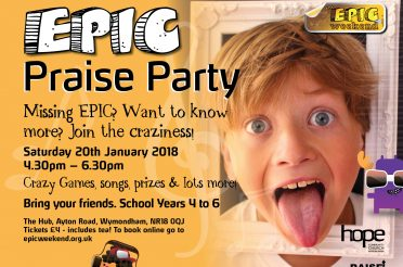 EPIC Praise Party – Saturday 20 January at The Hub