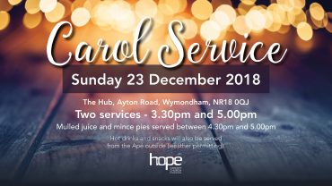 Christmas Carols at Hope – Sunday 23 Dec 18