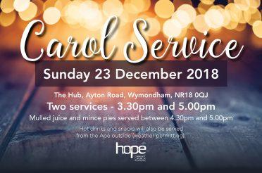 Christmas Carols at Hope – Sunday 23 Dec 18